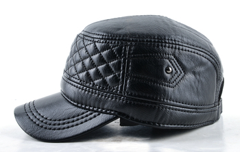 2018 Mens leather hat winter warm military style baseball cap with ear flaps russia flat top hats for men casquette 2