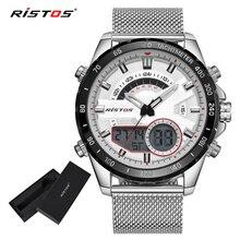 RISTOS, мужские многофункциональные часы со стальным ремешком, модные мужские часы, мужские спортивные часы с хронографом, цифровые наручные часы 9361
