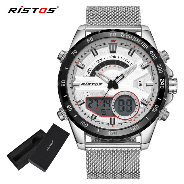 4ba32b12d607 RISTOS Men Multifunction Steel Mesh Watch Fashion Relojes Masculino Hombre  Man Sport Watches Chronograph Digital Wristwatch 9361