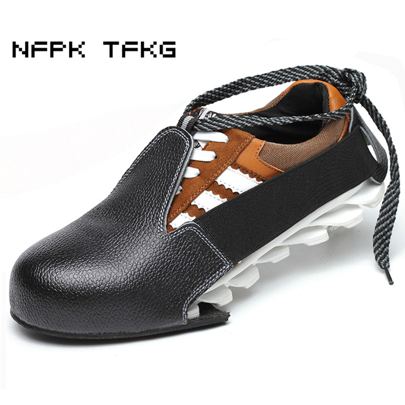 big size casual black soft leather steel toe caps work safety shoes visitors anti-hit tooling site footwear covers men protect