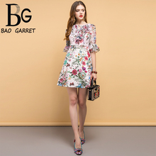 купить Baogarret New Fashion Designer Summer Dress Women's Bow Tie Ruffles Floral Printed Elegant Vintage Vacation Ladies Dresses дешево