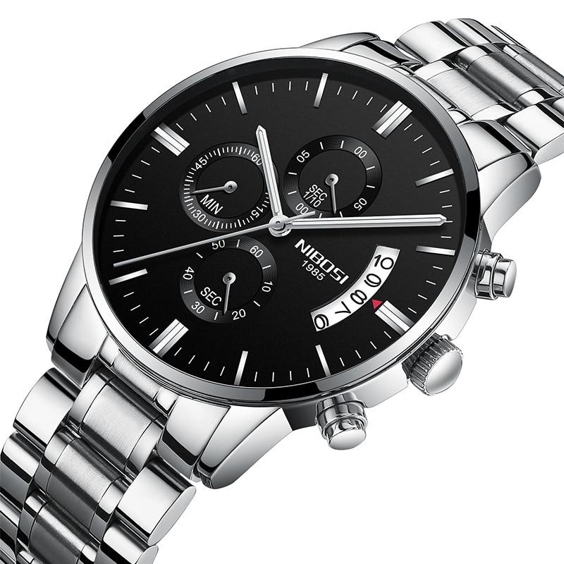 NIBOSI relojes de hombres de la marca de lujo de cuarzo de cronógrafo negocio reloj hombre reloj al por mayor Dropshipping. exclusivo. relogio masculino