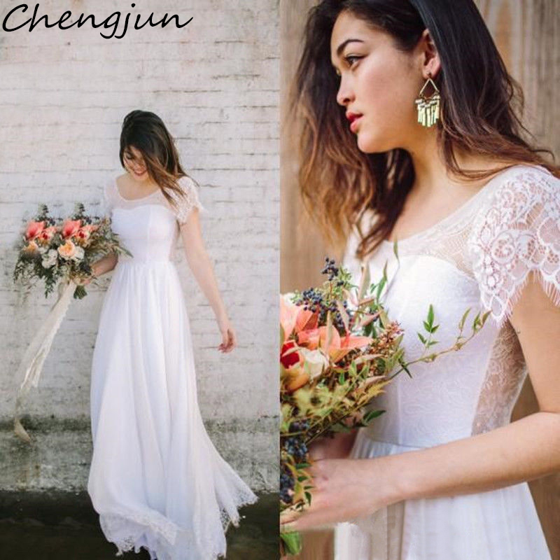 Chengjun Short Sleeve Scoop Neckline Lace Chiffon A Line Beach Bridal Dresses 2019