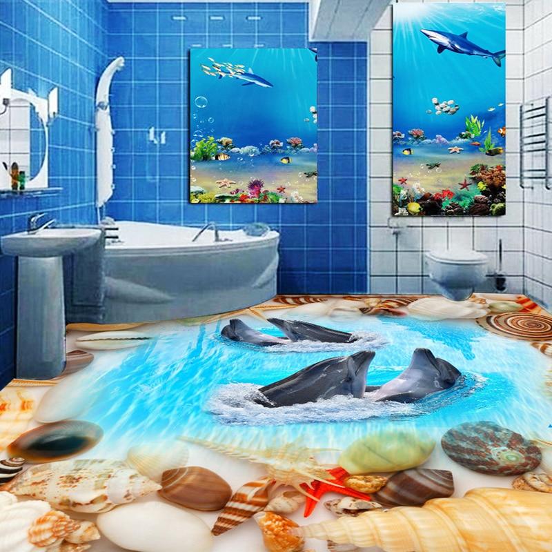 Custom 3D Floor Wallpaper Shells Dolphins Toilet Bathroom Bedroom Floor Decoration Wall Sticker Painting Vinyl Wallpaper Murals 3d visual volcano floor vinyl wall sticker