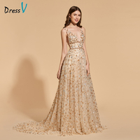 Dressv Elegant Long Prom Dress V Neck Sweep Train Beading Floor Length Zipper Up Evening Party