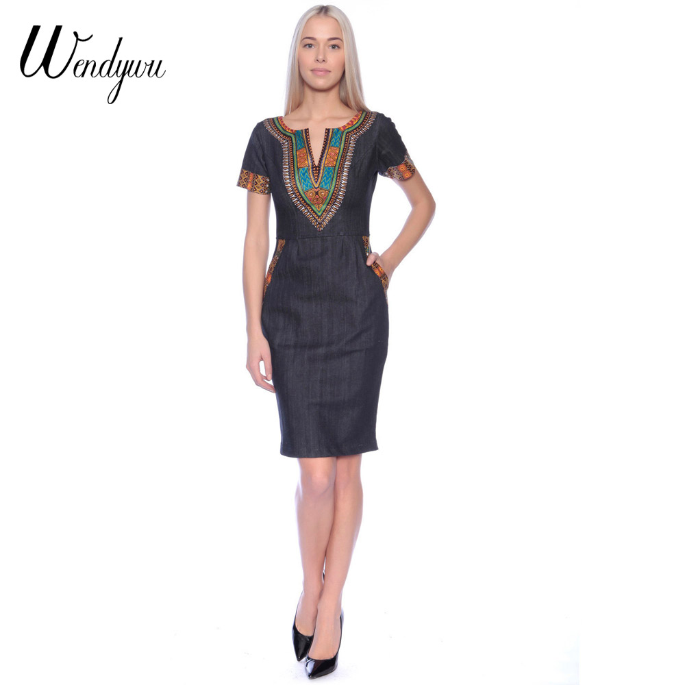 wendywu new ladies casual denim dress plus size vintage