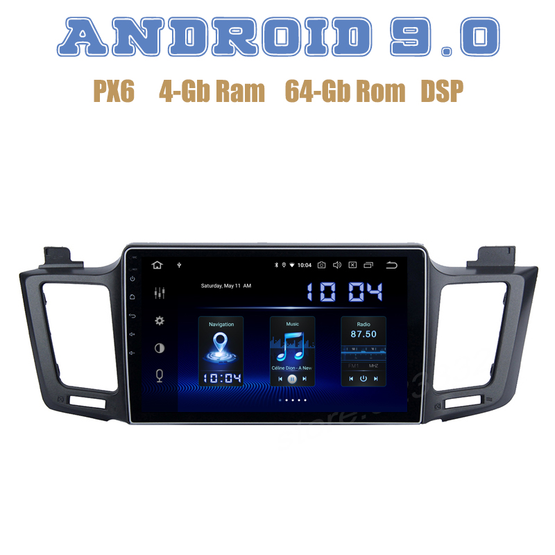 PX6 Android 9.0 Car GPS Radio player for Toyota RAV4 2013 2014 2015 2016 2017 with DSP 4+64GB wifi 4g usb Auto Stereo