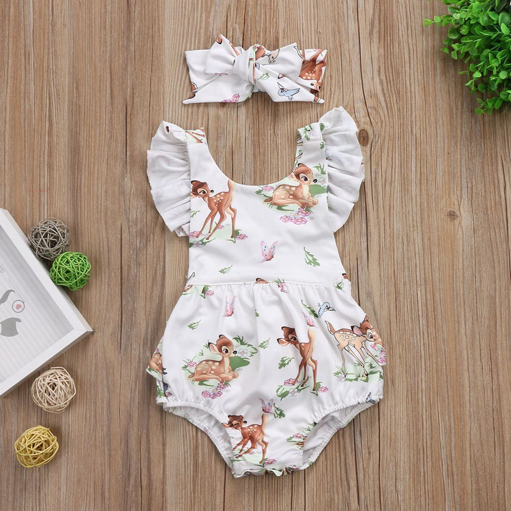 2018 Baby Clothes Summer Infant Newborn Lovely Animal 2pcs/Set Bodysuit+Headband Casual Toddler Outfit Fathers Day