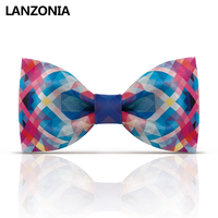 Lanzonia Novelty Desginer Print Mens Bow Tie Unisex Wedding Party Fancy Bowtie Women Fashion Unique Neckwear