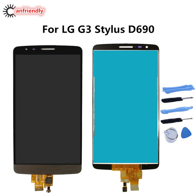 For LG G3 Stylus D690 D693 D693n LCD Display Touch Screen Replacement Digitizer With Frame
