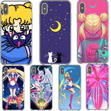 Sailor Moon Luna and Artemis Hard Case For iPhone X XS Max XR In the Name of 5 5S SE 6 6S Plus 7 8