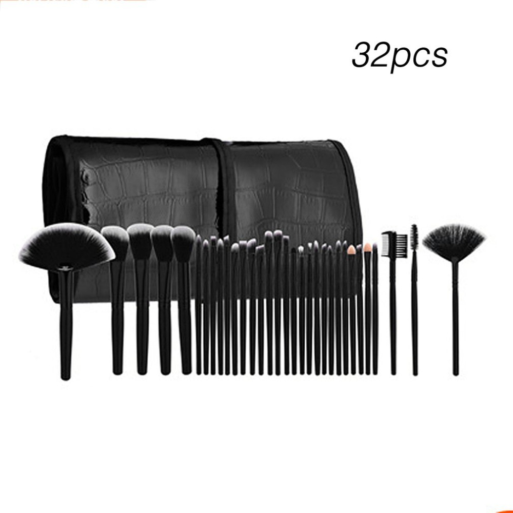 Professional Makeup Brushes 32pcs Cosmetic Kit Eyebrow Face Cheek Blush Foundation Powder Makeup Brush Set With Black Case hot sale 4pcs bamboo handle makeup brushes set cosmetic kit powder eyebrow blush makeup brushes styling tools face care