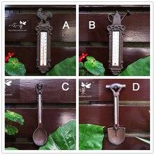 Gartenhof wand dekoration fotografie requisiten zakka lebensmittelgeschäft außen Eisen thermometer in Metall-handwerk