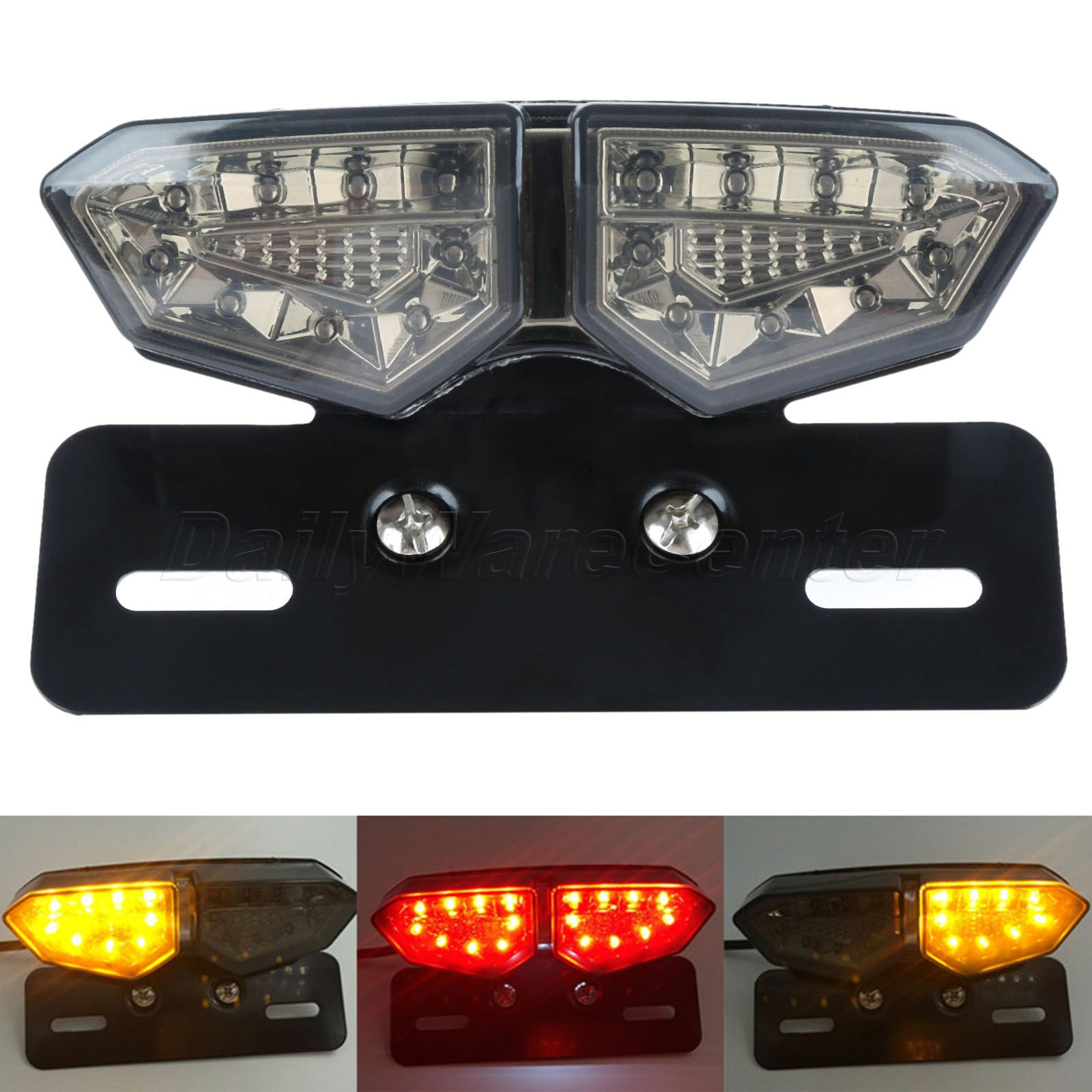 Mgoodoo Smoke Motorcycle Led License Plate Light Integrated Rear Tail Brake Stop Light Turn Signal Indicator Lamp For Cafe Racer