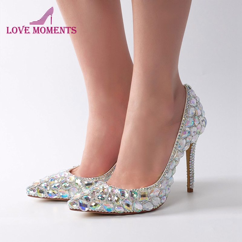 2019 Pointed Toe Dazzle Glass Diamond Shoes Women Crystal AB Cinderella Prom Event Shoes 11cm High Heel Bridal Wedding Shoes cinderella slipper shallow mouth high heels bridal shoes diamond wedding shoes fine with pointed shoes