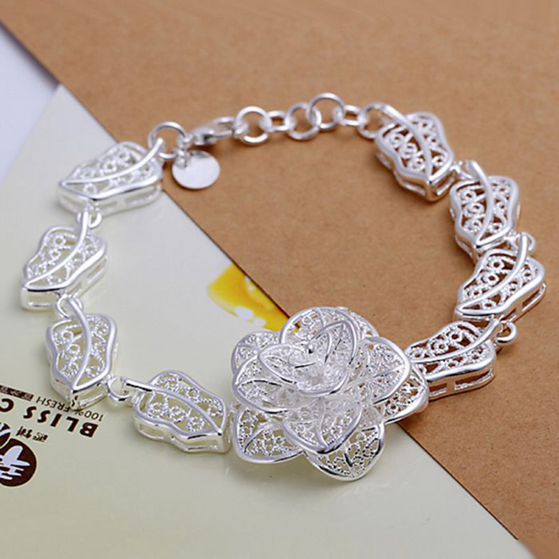 2016 Hot Silver Color Jewelry bracelet silver plated wristlet vintage accessories Big Flower Bracelet EMEPYACA MROCYRSAI