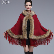 2018 Winter Warm Faux  Fur Long Knitted Tassels Poncho Autumn Cashmere Sweater Women European Red Cardigan Coat With Hat