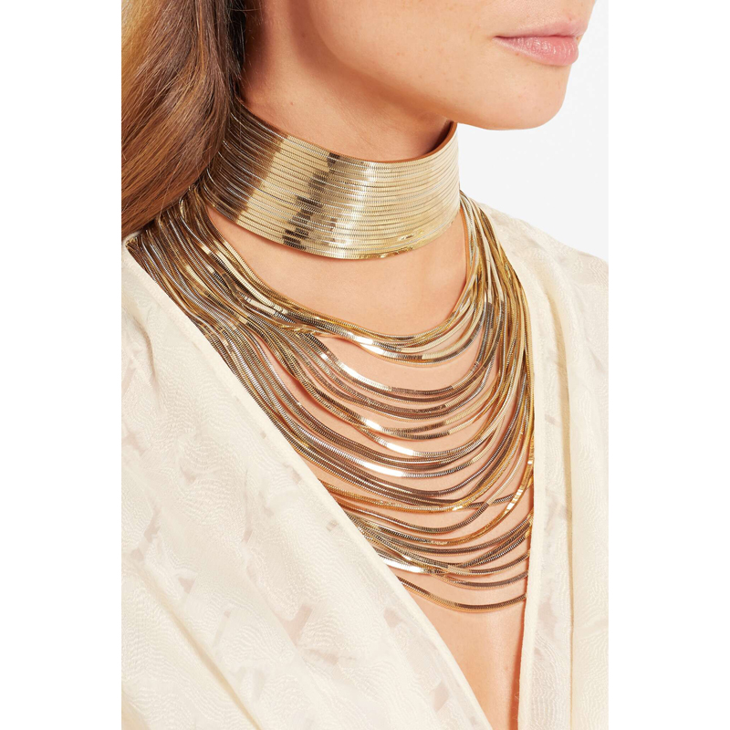 Lyxig metall kedja choker Maxi lysande Halsband Egypten stil trendy2017 Multilayer Wedding Collier Mode smycken etnisk vintage