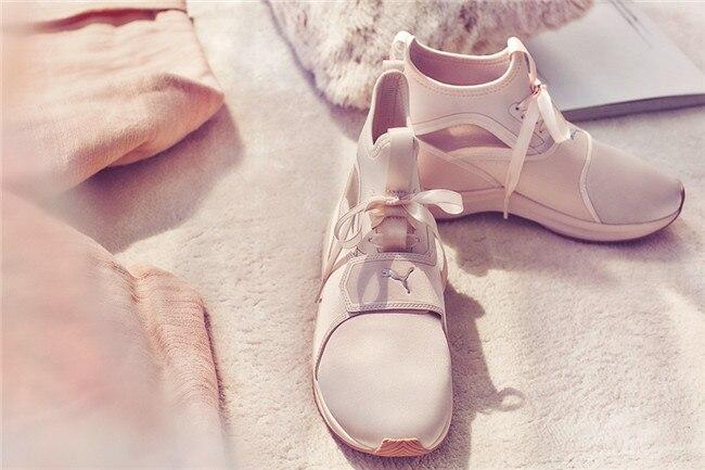 Original Puma Phenom Satin EP Women's Pink Sneakers Suede Satin Badminton Shoes size355-40