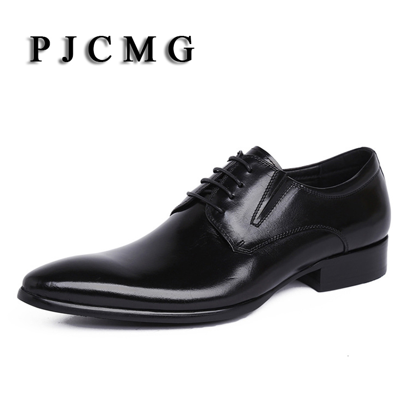 PJCMG Brand mens dress genuine leather black/red lace-up Pointed Toe formal business office men flats Shoes Big Size 38-44 fashion pointed toe lace up mens shoes western cowboy boots big yards 46 metal decoration