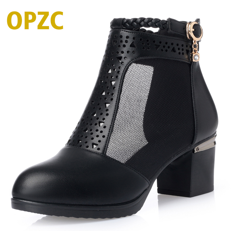 OPZC Fashion new arrival Women Sandals Mesh splicing Pumps Square Heels Shoes Ankle boot Summer Sandalet Breathable fish mouth in the summer of 2016 the new wedge heels with fish in square mouth denim fashion sexy female cool shoes nightclubs