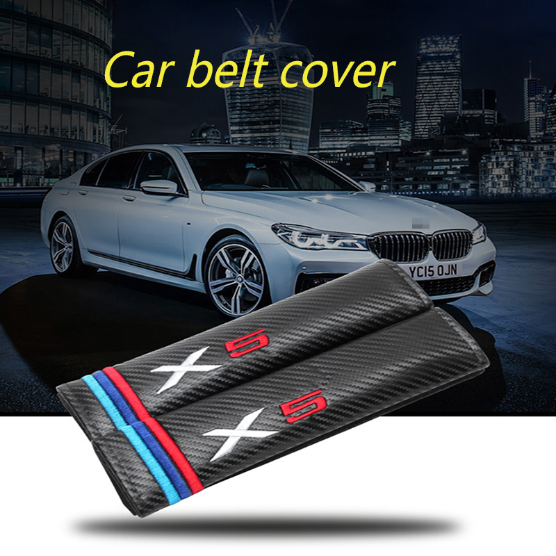 2Pcs For Bmw E46 E90 E36 X1 X3 X5 X6 M1 M3 M5 M6 740i 730i 530i 525i 520i 330i 320i 118i 116i Carbon Fibre Car Safety Belt Cover image