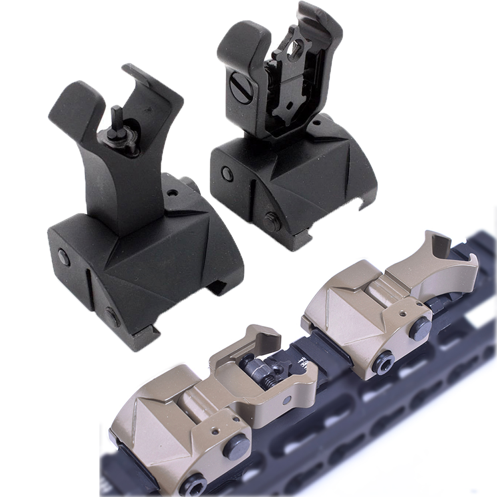 Tactical AR15 Folding Flip up Front Rear Sight Iron Sight Set Dual Diamond Shape BUIS for 20mm Rail Handguard Mount Hunting caza
