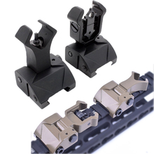 Tactical AR15 Folding Flip up Front Rear Sight Iron Set Dual Diamond Shape BUIS for 20mm Rail Handguard Mount Hunting caza