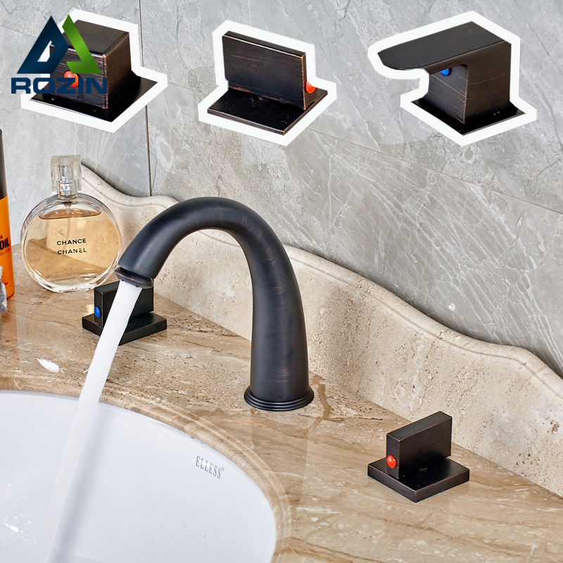 3-models Bathroom Deck Mount Two Square Handles Brass Black Waterfall Basin Sink Mixer Taps Widespread Vanity Sink Faucet