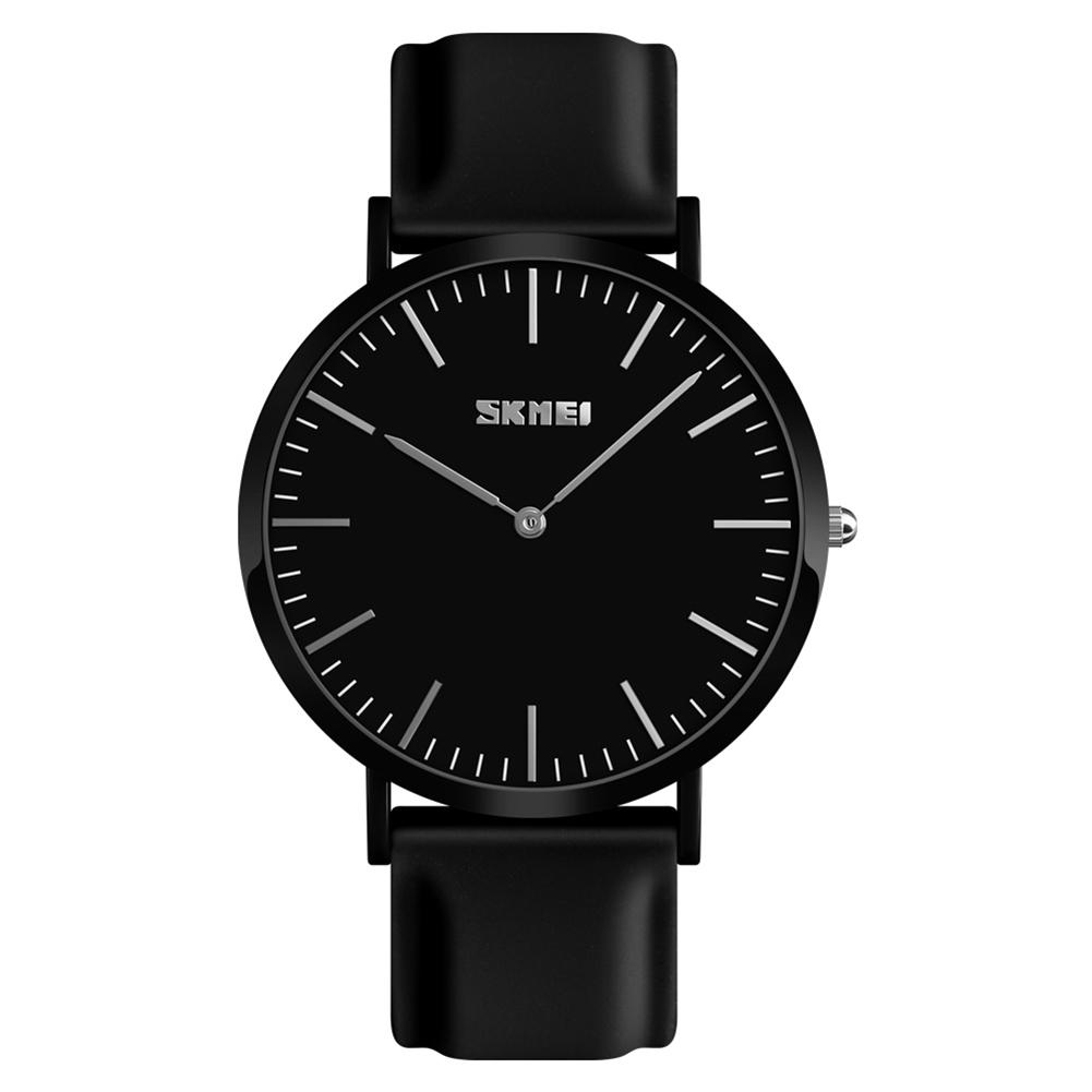 SKMEI New Fashion Trend Couple Men And Women High-tech Laser-marked Stainless Steel Backshell Watch Silicone Band Watch