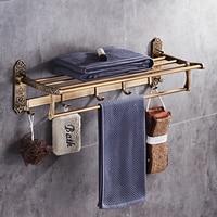 fold white gold bath towel rack Active bath bathroom holder Antique Double towel shelf Black/White towel rack