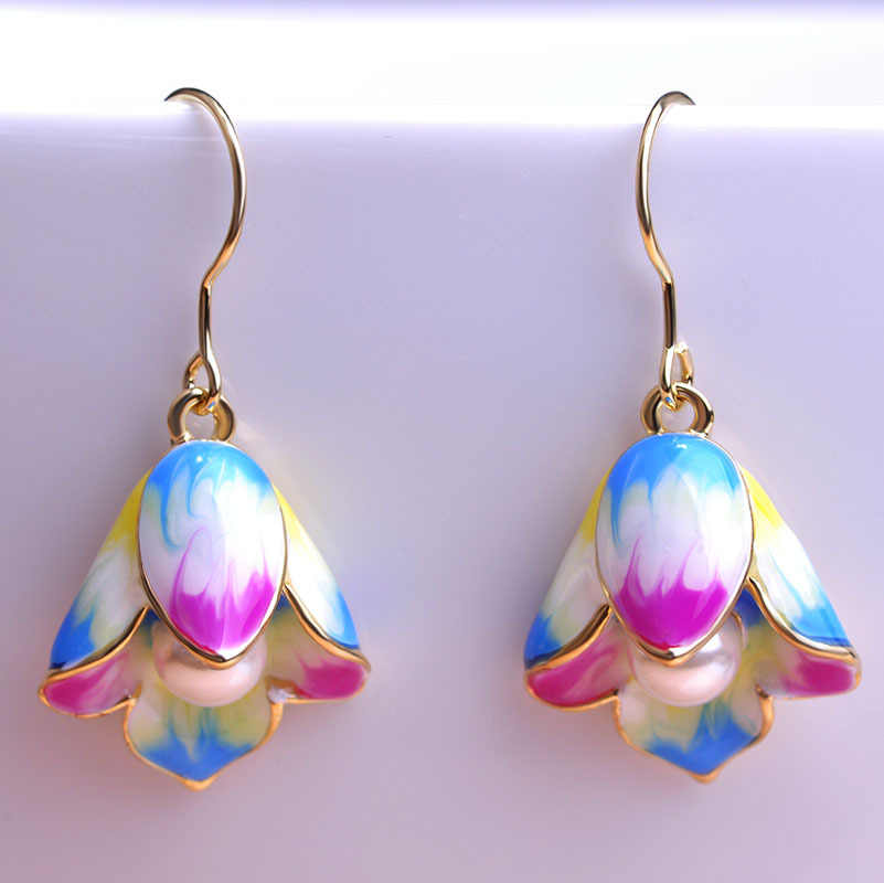 Blucome Imitation Pearls Jewelry Sets Purple Hooks Earrings Adjustable Wedding Rings Enamel Lily Flower Ring Bijuteria Bijoux