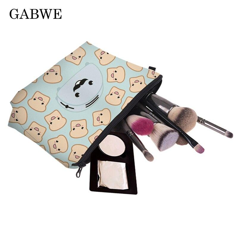 GABWE Printing Makeup Bag With Fast Food Pattern Cosmetics Case For Travel Ladies Pouch Women Make Up Organizer Kosmetyczka