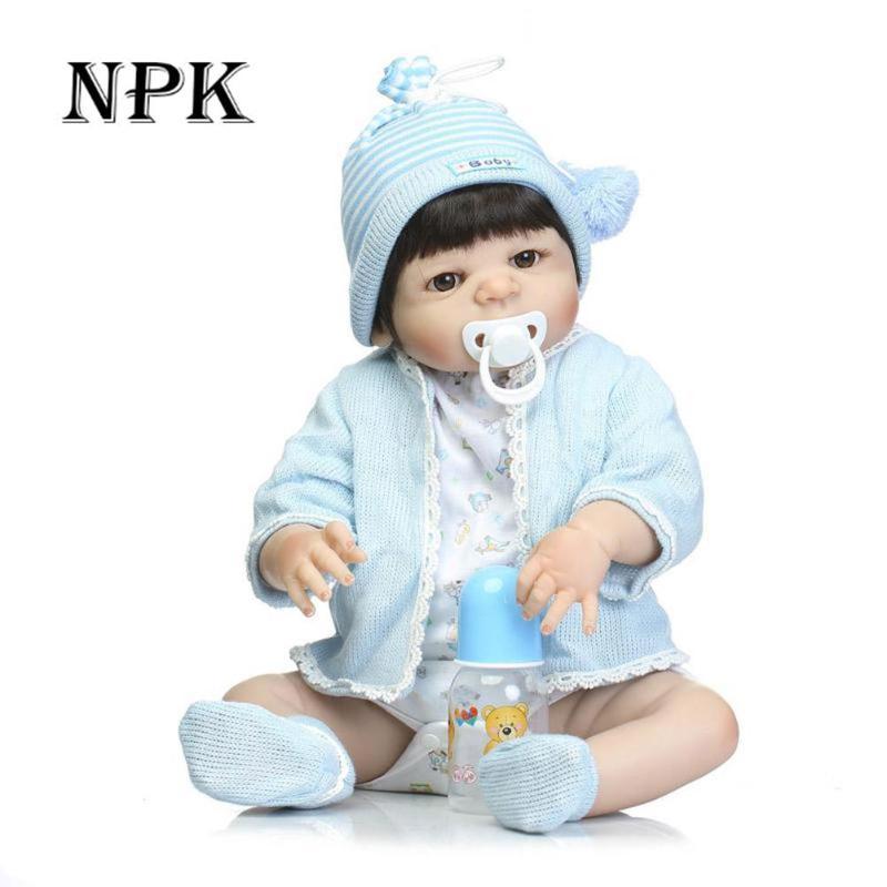 57cm NPK Silicone Full Body Reborn Dolls Boneca Realistic Dolls Craft Baby Boy Fashion Kids Toy Waterproof Birthday Gifts Model цена