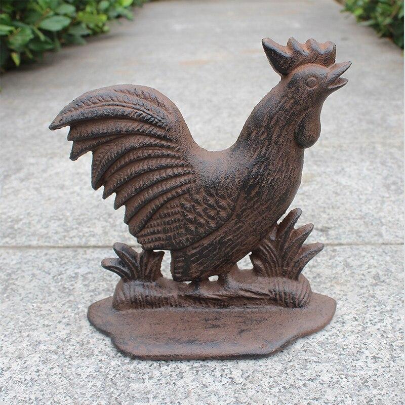 Vintage Rooster Shaped Cast Iron Door Stopper цены онлайн