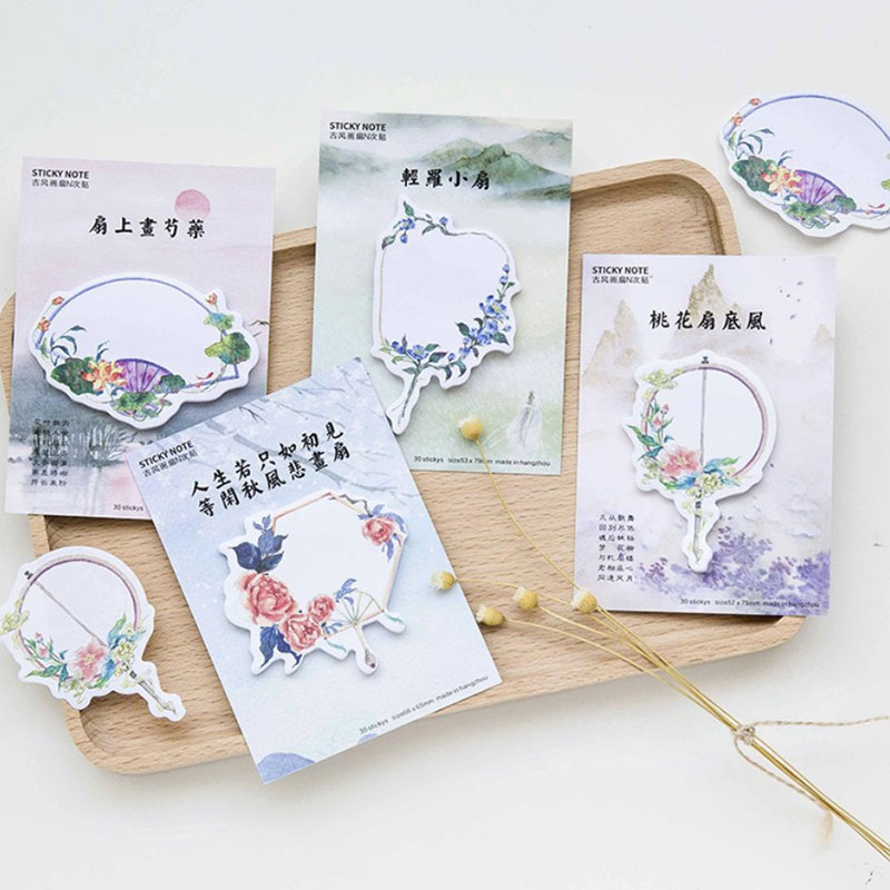 4pcs/lot Classical painting fan memo pad paper post notes sticky notes notepad stationery papeleria school supplies kids gift