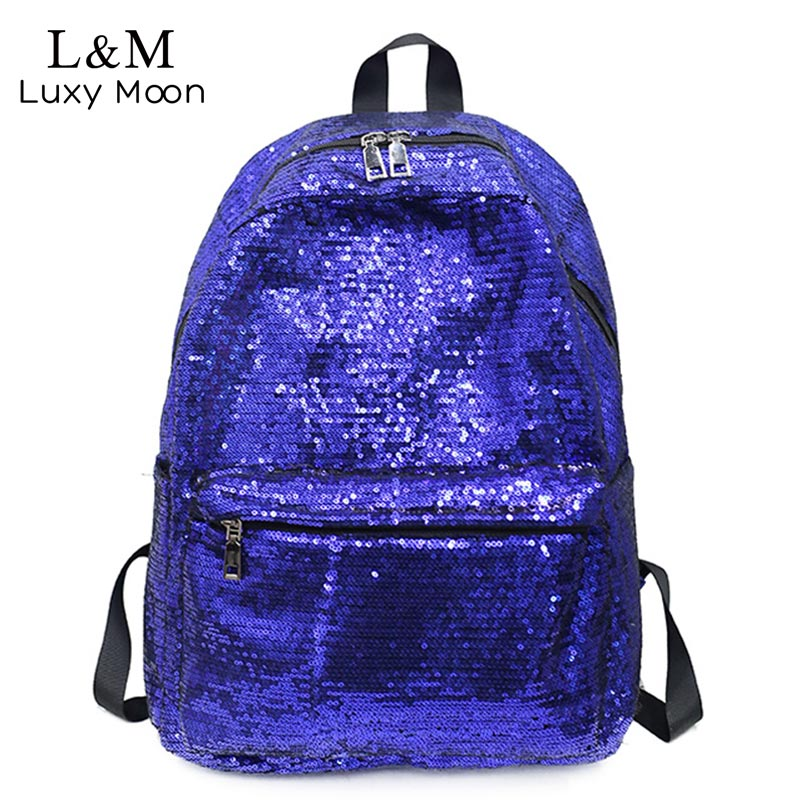 Glitter Backpack School-Bag Sliver Teenage-Girls Women Bling-Fashion-Brand for Mochilas