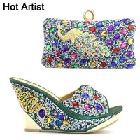High Quality Woman Rivet Slipper Shoes And Bag Set For Party Fashion Italian Style High Heels