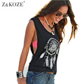 Z&KOZE Vintage Ethnic Tshirts Summer Women Vest Drilling Printed Lady O-Neck Loose Tops Casual Sleeveless Blusas Tank Tops