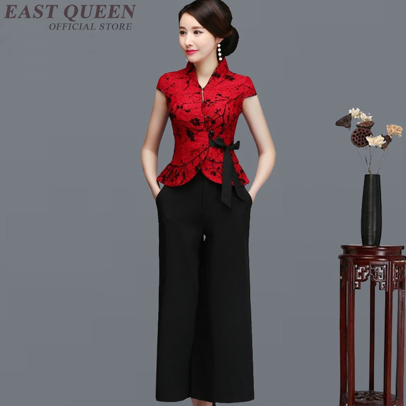 Modern Chinese Cheongsam Qipao Elegant Woman Pants And Blouse Set Festival Clothing Traditional Chinese Suit Two Style AA4012