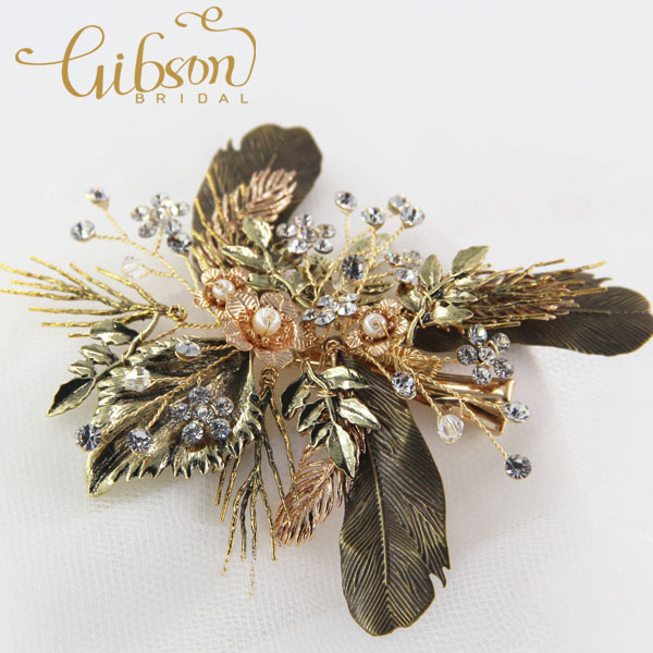 Free Shipping New Bronze Gold Color Leaf Decorated Garden Party Girl Hair Side Clip Accessories Wedding Hair Comb