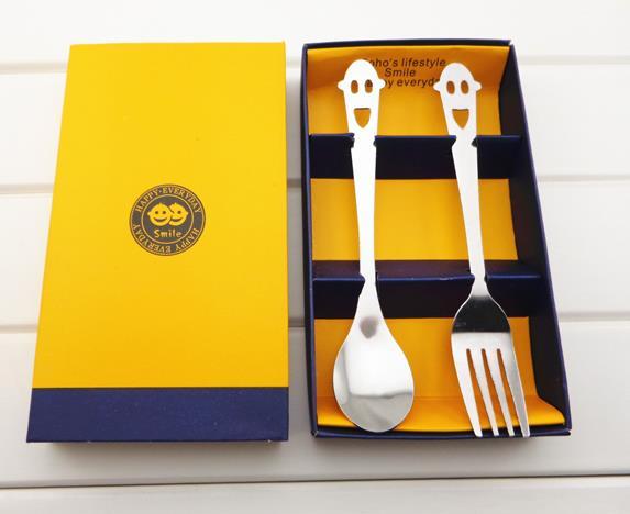 Модные креативные товары для дома из нержавеющей стали счастливой улыбкой уход за кожей лица посуда комплект из двух предметов, набор вилок и ложек подарочной коробке 10 компл./лот - Цвет: Оранжевый