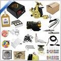 Conjunto Kit de Tatuagem profissional 1 Mini Gun Rotary Equipamento Da Máquina conjuntos de Tinta + Tinta + fonte de Alimentação + Agulha + CD para Iniciantes Do Corpo arte