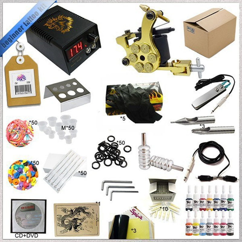Professional 1 Set Tattoo Kit Mini Gun Rotary Machine Equipment sets +Ink +Power Supply +Needle + CD for Beginners Body Art professional tattoo kit 5 guns complete machine equipment sets teaching cd ink for beginners body art beauty tools tk 2509 m