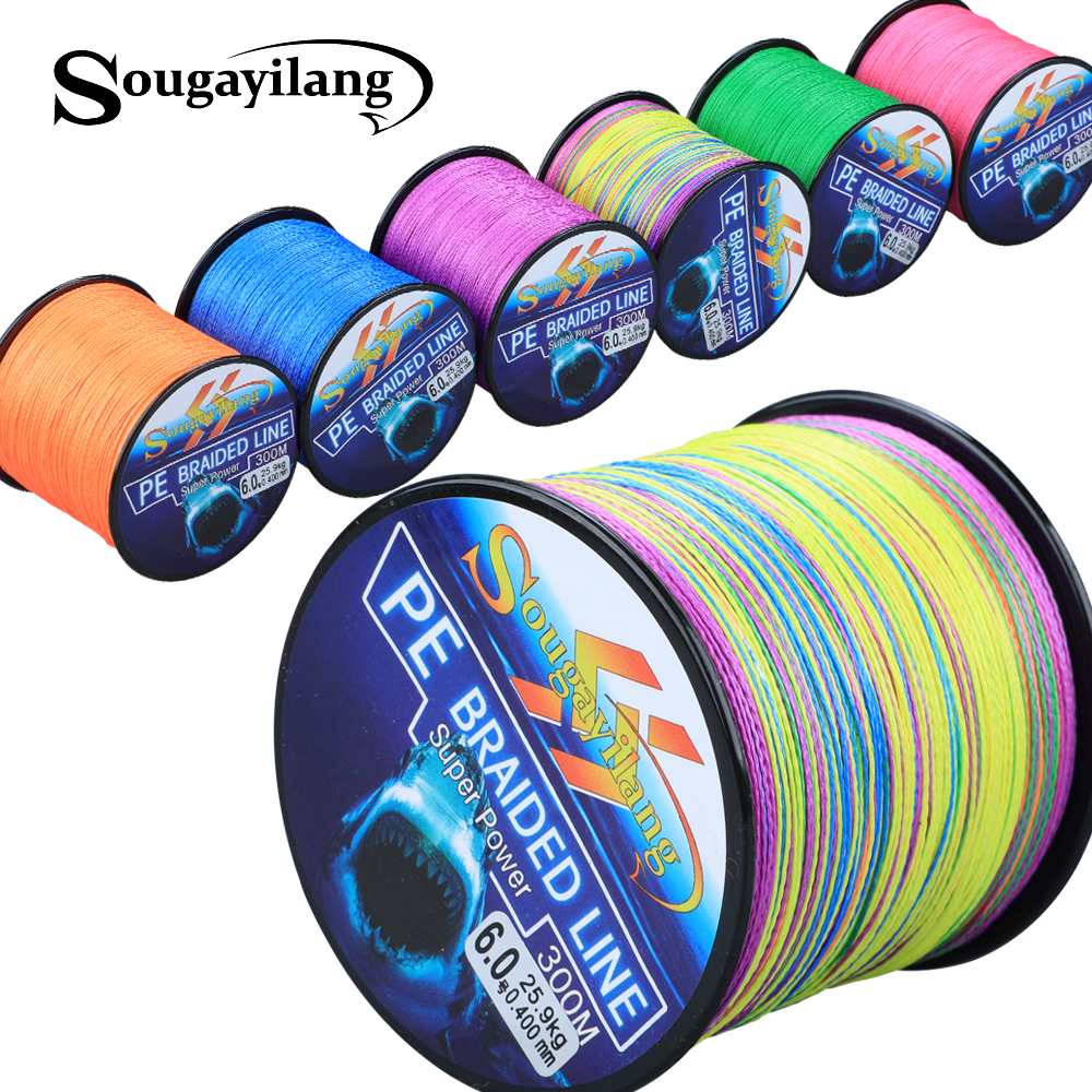Sougayilang 4 Strands Braided Fishing Line 0.6-8.0# 300M PE Fishing Line 6.3-32.8kg Multifilament Fishing Line Smooth Pesca
