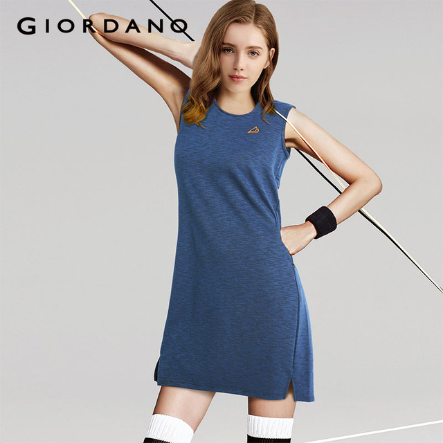 82fe46cc01 Giordano Women Dress Solid Summer Tank Dress Zipper Rear Sleeveless Lady  Clothing G-motion Series 2018 Brand Clothing