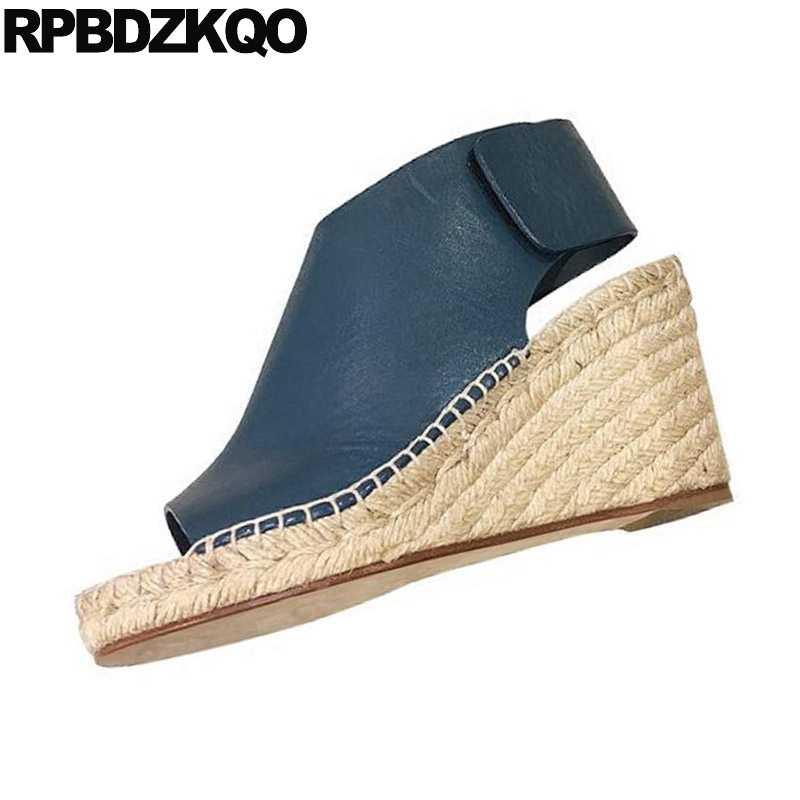 85238b5bbbd Pumps Platform Wedge Sandals Summer Blue Shoes Rope Plus Size Espadrilles  Open Toe Slingback 2018 Women High Heels Designer