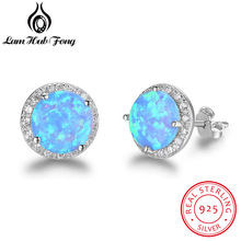 Elegant Round Blue Fire Opal Stud Earrings Real 925 Sterling Silver Cubic Zirconia Jewelry Best Gift for Women (Lam Hub Fong)