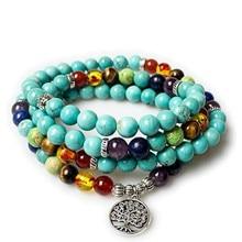 Natural 7 Chakras Ethnic 108 Beaded Bracelets Healing Meditation Stone Women  mens bracelets 2018