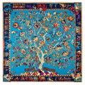 [Lesida] 100% sarga de seda cuadrado grande toalla señoras bufanda foulard flor árbol elefante patrón popular personalizado de navidad sjaal 13031